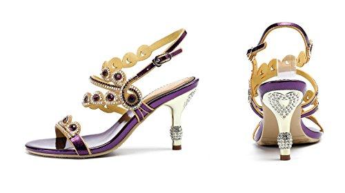 Honeystore Womens Drip Rhinestones Pumps Stiletto Hakken Sandalen Schoenen Voor Bruiloft Paars