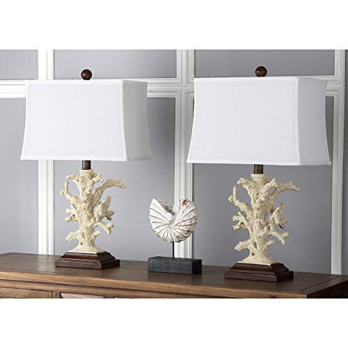 - MISC Set of 2 - Off-White Coral Table Lamp Ocean Reef Light Branch Coastal Design Nautical Lighting Tropical Decor Cottage Lodge Vacation Home Summer Indoor, Acrylic Resin 21
