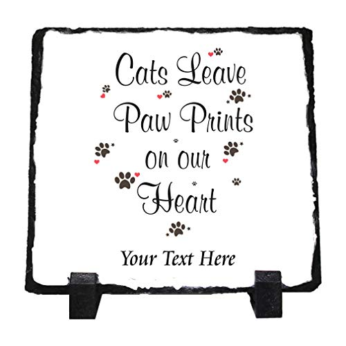 Custom Home Decor Stone Slate Plaque Memorial Cats Leave Paw Prints... Photo Picture Frame