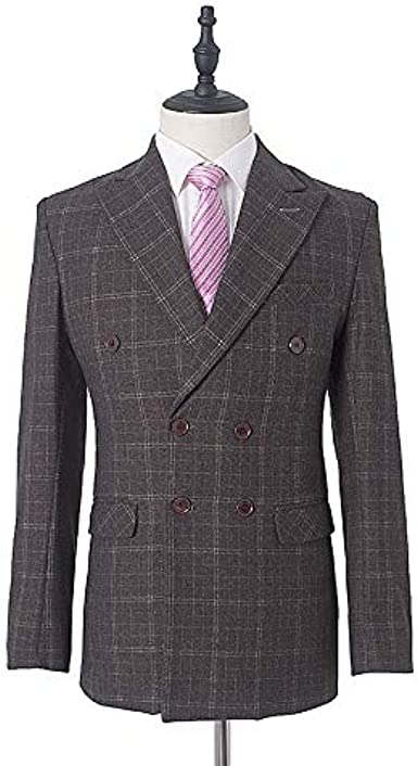 TOPGEE Mens Suit Vest Vintage Check Waistcoat with Lapel Double Breasted