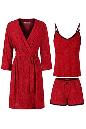 SofiePJ Women's Printed Robe Set with Chemise and Shorts 3 Piece Sleep Loungewear Red Black L
