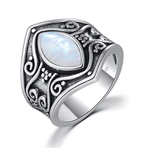 MARRLY.H Large Natural Moonstone Black Silver Rings Signet Crescent Ring Ethnic Tribe Gothic Vintage Party Jewelry Man Woman White 5 ()