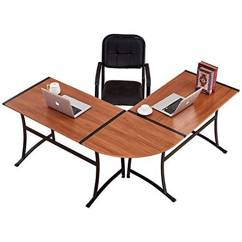 (Trustiwood Computer Desk L-Shape Corner Office Desk Modern PC Laptop Table Workstation Writing Table Home Office 3 Pieces, Walnut)