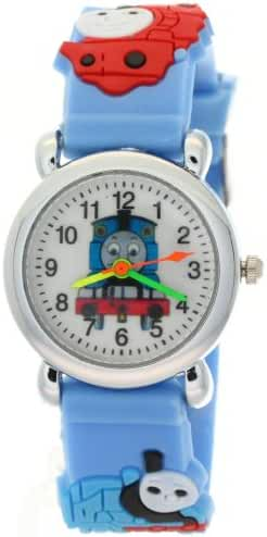 Timermall Thomas Boy's NLG-K-412 the Tank Engine Friends 3d Cartoon Analogue Quartz Blue Rubber Watch