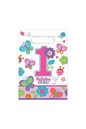 - Amscan Folded Loot Bags | 1st Birthday Girl | Flowers and Butterflies Collection