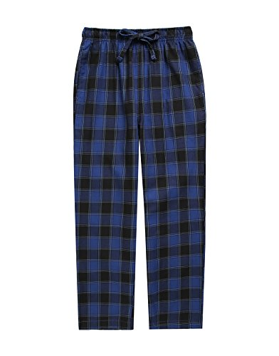 (TINFL Boys Plaid Check Soft 100% Cotton Lounge Pants BLP-SB003-Navy-S)