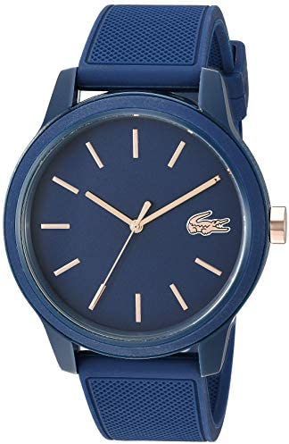 Lacoste Mens TR90 Quartz Watch with Rubber Strap, Blue, 20 (Model: 2011011)