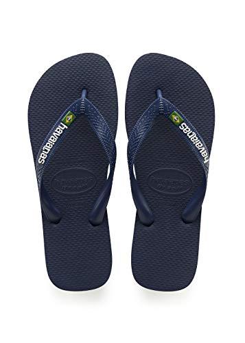 Havaianas Women's Brazil Logo Flip Flop Sandal, Navy Blue, 5/6 M US