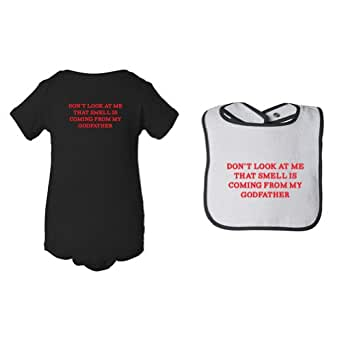 So Relative! Unisex Baby Don't Look At Me Smell Coming From Godfather Black Bodysuit & Black Piping Bib (Newborn)