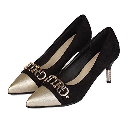 Amoonyfashion Dames Puntig Teen Pu Assortiment Kleur Pumps-schoenen Zwart