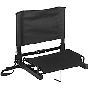 ZENY Set of 2 Portable Extra Wide Stadium Seat Chair for Bleachers or Benches,Folding Reclining Seat Black Bleachers 5 Positions,Padded Cushion Backs and Armrest Support and Bottle Pocket by ZENY