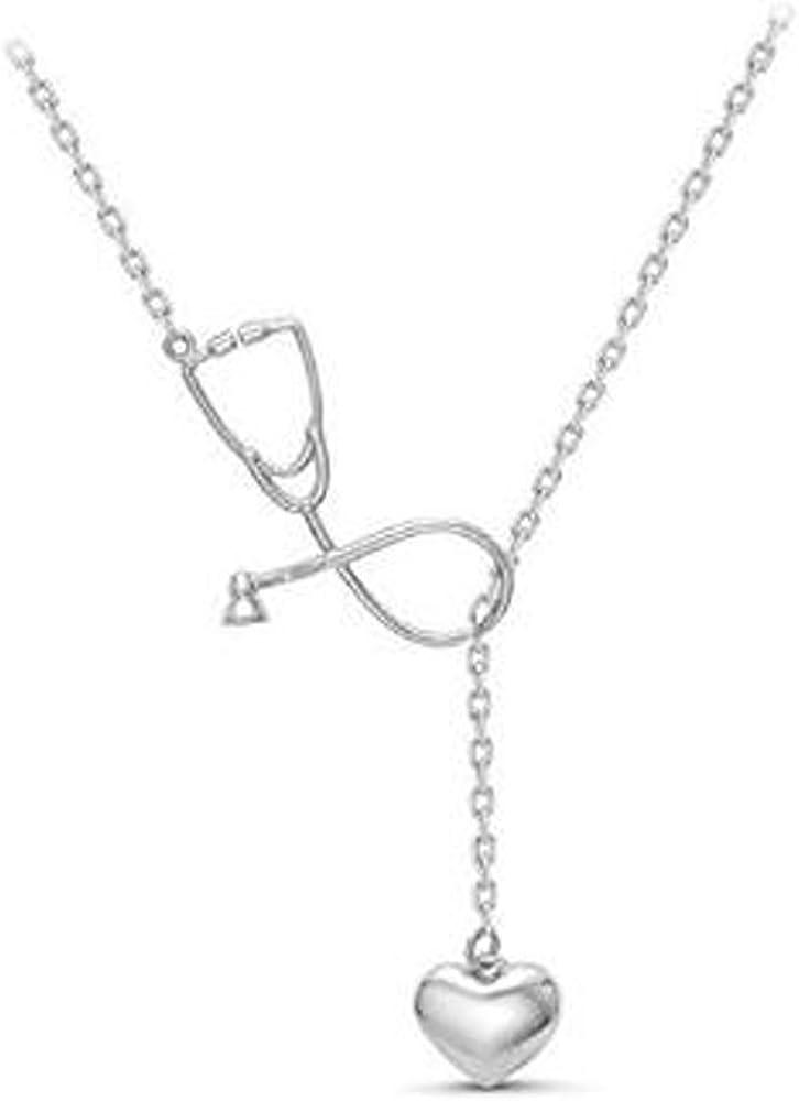 Estetoscopio Collar De Lariat con Corazón, Corazón Y Estetoscopio Colgante para Médico Regalo De Enfermera Estudiante De Médico