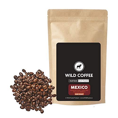 (Wild Coffee, Organic Austin Roasted Small-Batch Whole Bean, 100% Arabica, Fair Trade, Single-Origin, Low Acid, Grade 1 (Mexico Dark, 12 ounce))