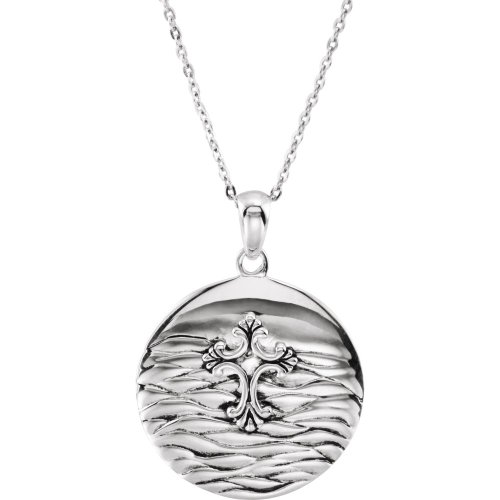 Rhodium Plate Sterling Silver Water Baptism Necklace, 18'' by The Men's Jewelry Store
