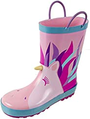 Rainbow Daze Rain Boots for Girls and Boys, Easy on Handles, Fun Prints,Waterproof,Toddlers & Kids, Age