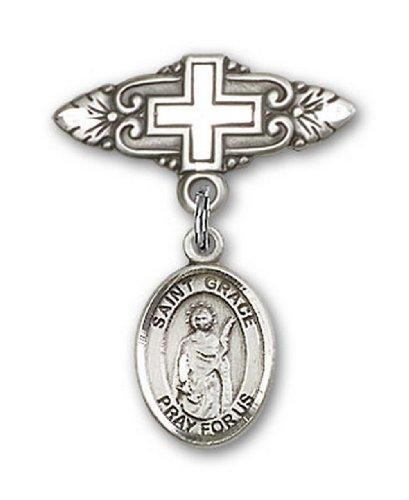 Icecarats Créatrice De Bijoux En Argent Sterling St. Grâce Broche De Badge Charme Avec Une Croix X 3/4