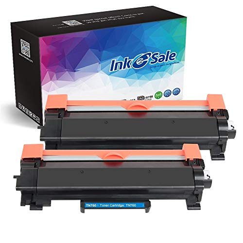Ink E-Sale Compatible Toner Cartridge for Brother TN730 TN760 TN-760 Toner for Brother HL-L2350DW HL L2370DW XL L2390DW L2395DW DCP-L2550DW MFC L2710DW L2750DW Printer - (2PK High Yield Black)