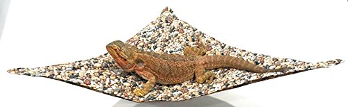 (Twisted 2 Perfection Reversible Lizard Hammock for Bearded Dragons, with Suction Cup Hooks Pick Your Color (Brown Batik and Pebbles))