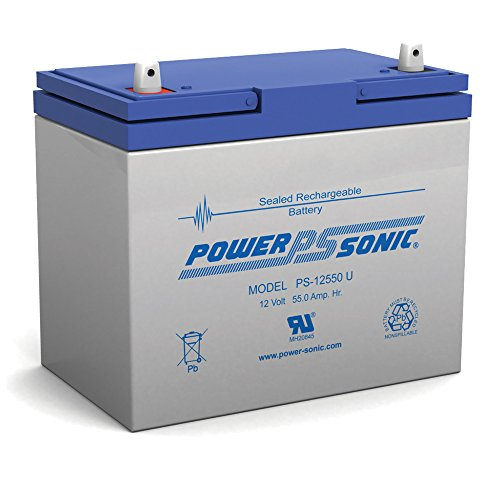 Powersonic PS-12550 - 12 Volt/55 Amp Hour Sealed Lead Acid Battery with Nut-Bolt Terminal by Powersonic