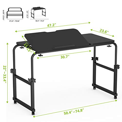 Overbed Table with Wheels, LITTLE TREE Multi-Function Height & Length Adjustable Mobile Table with Tiltable Stand Board, Works as Computer Desk, Writing Desk or Drafting Table (Black Finish) by LITTLE TREE (Image #6)