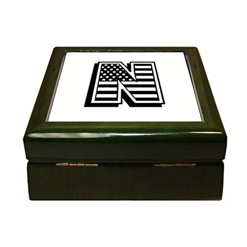 Initial Tile Box (Style in Print N American Flag Initial Monogram Letter N 4