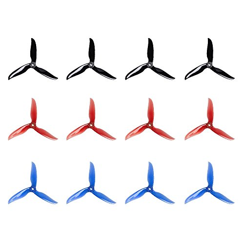 Crazepony 12pcs DALPROP T5040C 5040 5 Inch 3-Blades CW CCW Tri-Blade Propeller, Best Match for 200 210 230 250 FPV Racing Drone Quadcopter Frame Kit (Black Red Blue) by Crazepony