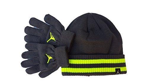 Boys Youth Nike Air Jordan Striped Beanie and Glove Set 8/20 by NIKE