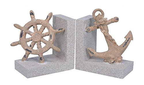 Fantastic Craft Anchor & Wheel Bookend (Set of 2), 5.5""