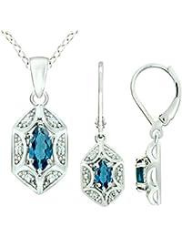 Sterling Silver 925 Jewelry Set GENUINE GEMSTONE Marquise...