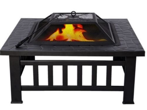 "Square 32"" Metal BBQ & Heater Outdoor Fire Pit Fireplace Brazier Stove Garden Patio"