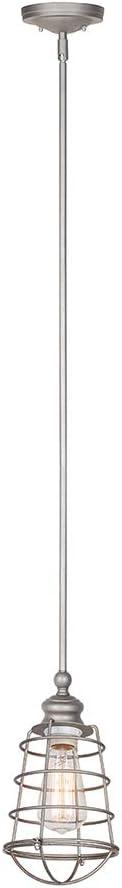 Design House 519645 Ajax 1 Light Mini Pendant, Galvanized Steel Finish