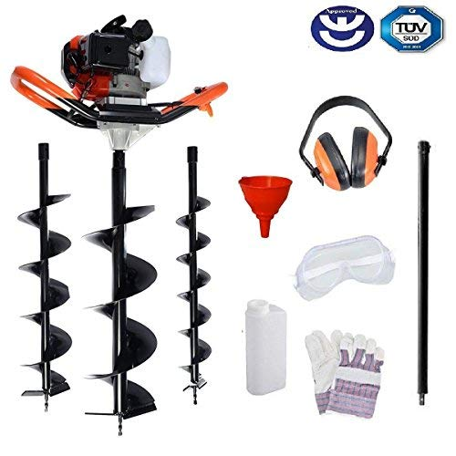 BU-KO 52CC 2Stroke Petrol Earth Auger Fence Post Ground Hole Borrer Digger 3HP V-Type with 3 Drill Bits Diameter (100, 150, 200mm) & Safety Gear - 1 YEAR WARRANTY