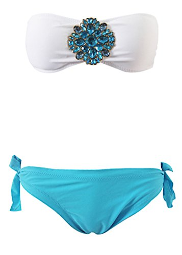 bikini New Women Girl Suit Sexy Strapless Pad Bandeau Top Bottom Swimsuit Swimwear S M L Hot - Bikinis Training