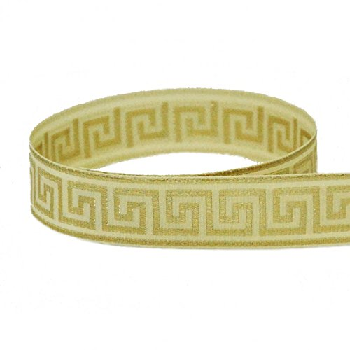7/8'' Ivory & Gold Greek Key Grosgrain Ribbon - 100 Yards by The Ribbon Factory