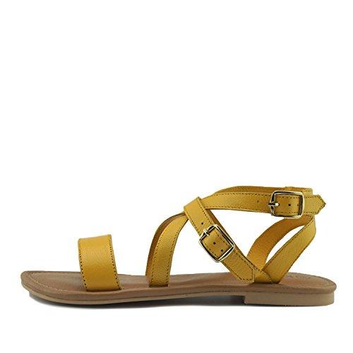 Giallo Kick Strappy Estivo Comfort Footwear di Cuoio Vacanza Scarpe Sandali Donna faCT6nx4fq