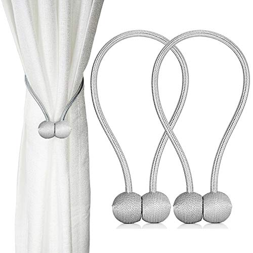 2 Pack Magnetic Curtain Tiebacks, The Most Convenient Drape Tie Backs,European Style Decorative Weave Rope Curtain Holdbacks Holder for Window Sheer Blackout Drapries Office, 16 inch(Silver Grey)