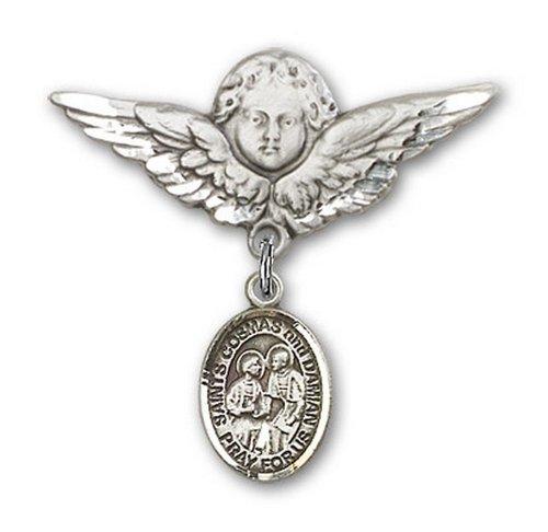 Icecarats Créatrice De Bijoux En Argent Sterling M. Cosmas Damian Charme Broche De Badge Angel 1 1/8 X 1 1/8