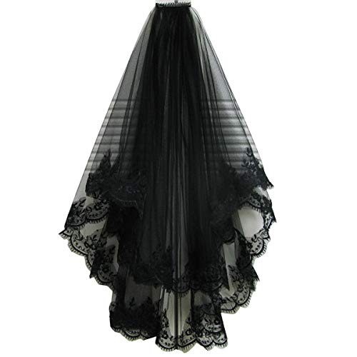 Drasawee Black Lace Veil Creative Cathedral Wedding Halloween Veil With Comb]()