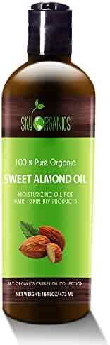Best Sweet Almond Oil by Sky Organics 16oz- 100% Pure, Cold-Pressed, Organic Almond Oil. Great As Baby Oil- Anti- Wrinkles- Anti-Aging. Almond Oil- Carrier Oil for Massage.Bath Pearl & Flakes