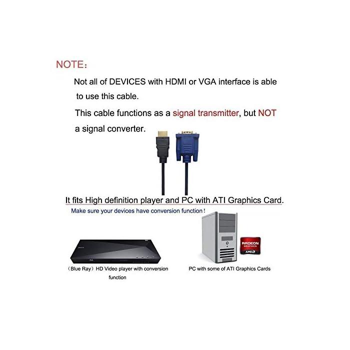 41ZWOo200qL Haz clic aquí para comprobar si este producto es compatible con tu modelo Cable HDMI macho a VGA macho HD-15. Este cable de HDMI a VGA es compatible con los siguientes dispositivos: reproductores de DVD de alta definición, receptores de HDTV, televisores, proyectores, receptores A/V y otros dispositivos equipados con HDMI.