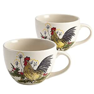 Paula Deen Signature Dinnerware Southern Rooster Collection 2-Piece Jumbo Mug Set