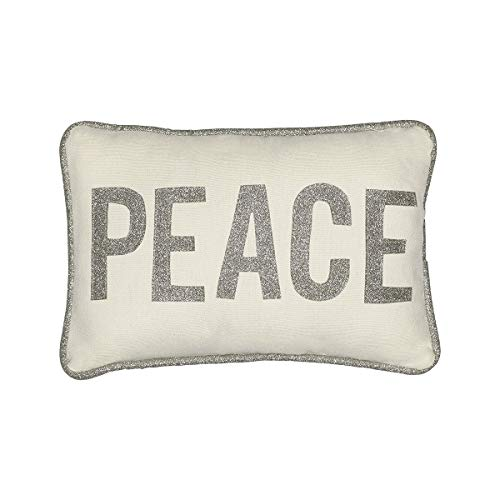 Collins Fresh and Original - Peace Mini Lumbar Throw Pillow with Silver Glitter Applique, Inspirational or Christmas (Peace Love Pillows)