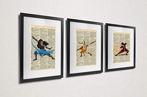 Avatar the Last Airbender Aang Zuko Katara Dictionary Art Series of 3
