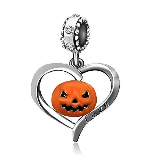 JMQJewelry Halloween Charm Heart Love Pumpkin Dangle White Birthstone Charms Beads Bracelet