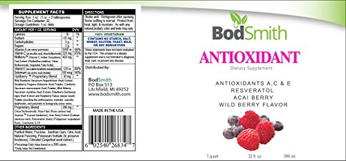 BODSMITH 1 LIQUID ANTIOXIDANT with ANTIOXIDANTS AC amp E RESVERATOL ACAI BERRY WILD BERRY FLAVOR 32 Fl Oz Discount