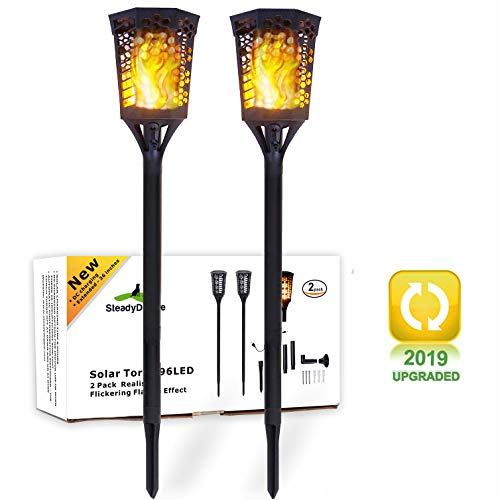 SteadyDoggie Solar Torch Landscaping Light Kit 2 Pack|