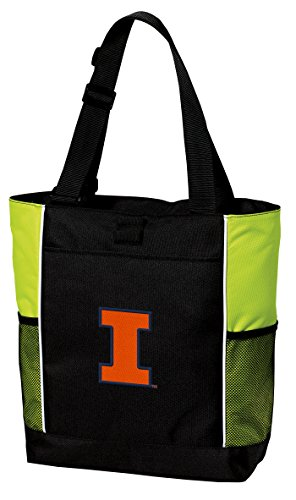 Broad Bay Illini Tote Bag Cool Lime University of Illinois Totes Beach Pool Or Gym