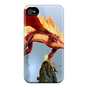 4/4s Scratch-proof Protection Case Cover For Iphone/ Hot Red Dragon Phone Case