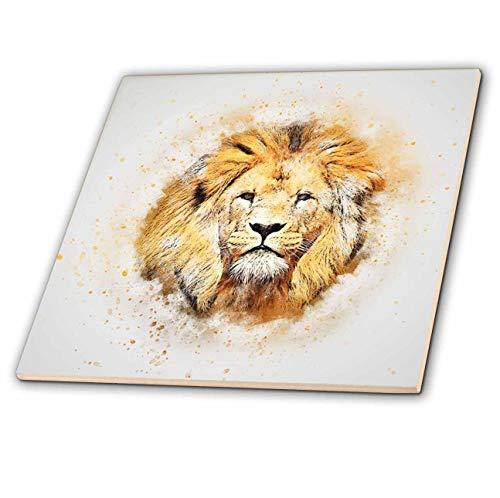 3dRose Lens Art by Florene - Watercolor Art - Image of Portrait Painting of Majestic Lion - 8 Inch Ceramic Tile (ct_300361_3)