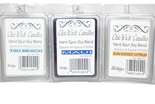 (ChicWick Candles 3Pack Beach Fun Trio Soy Blend Wax Melts, Tiki Beach, Maui, Sun Kissed Citrus, 9oz 18 Wax Cubes Wax Tarts Wax Chunks, 100 Plus Hours of Quality)